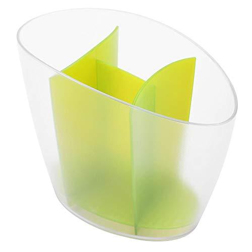 Cutlery Holder Drainer Plastic Tableware Holder Chopsticks Spoon Spatula Storage Draining Rack Kitchen Tool Organizer with Detachable CompartmentGreen
