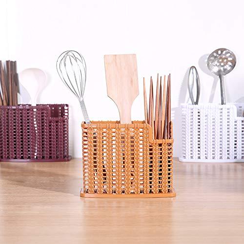 Fanthee Chopsticks Storage BasketPlastic Hollow Chopstick Drain Rack Spoon Knife Cutlery Storage Basket Container Random Color