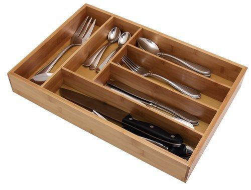 Deep Bamboo Cutlery Tray - Silverware  Flatware Storage