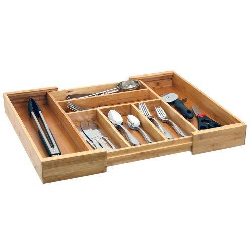 Expandable Bamboo Cutlery Tray  Drawer Organizer  Silverware Storage