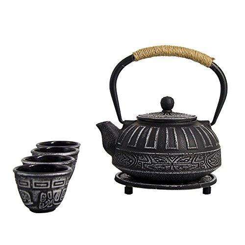 ISINO Cast Iron Teapot Set  Japanese 24 Oz Tetsubin Iron Teapot Kettle  25 Ounce Cast Iron Teacup Set with Trivet and Stainless Steel Strainer