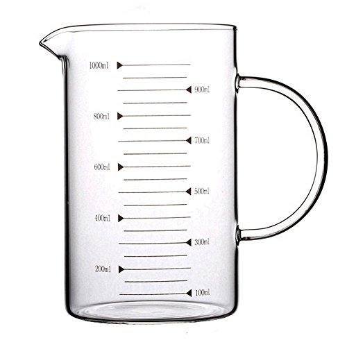 Lautechco High Borosilicate Food Grade Glass Measuring Cup Pot Kettle 1000ml