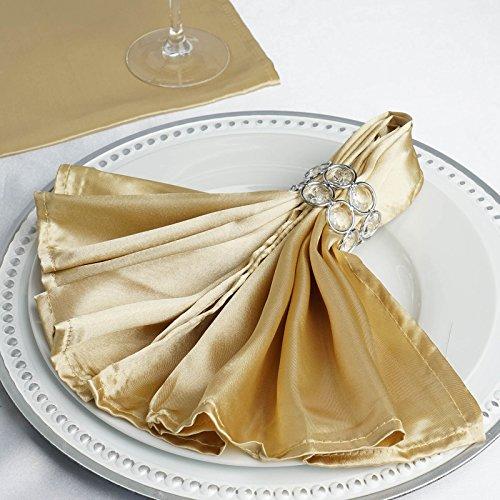 Efavormart 25x25 Champagne Wholesale SATIN Linen Napkins For Wedding Birthday Party Tableware - 25 PCS