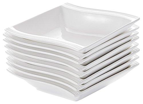 Malacasa Series Flora China Ceramic Square Soup Bowl Porcelain Dinner Dinnerware Cereal Rice Ivory Cream White Set Of 8