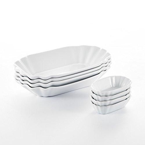 Malacasa Series Regular 8-Piece Cream White Ceramic Porcelain Breakfast Trays Dinner Plates Dishes Dinnerware Set of 775 195x12x35cm Plates and 3 8x5x194cm Dishes