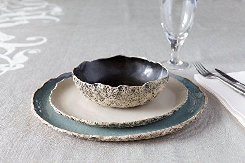 Stunning handmade organic dinnerware setting Large ceramic dinner set Stoneware dinner setting Blue Dinner plate Wedding gift Birthday gift Natural color glaze variations to choose from