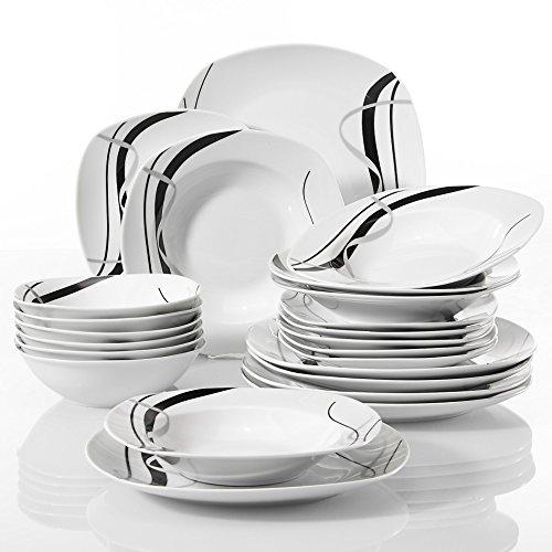 VEWEET FIONA 24-Piece Ivory White Ceramic Tableware Set of 6 x Bowls Dessert Plates Soup Plates Dinner Plates Black Lines Porcelain Dinnerware Sets Service for 6
