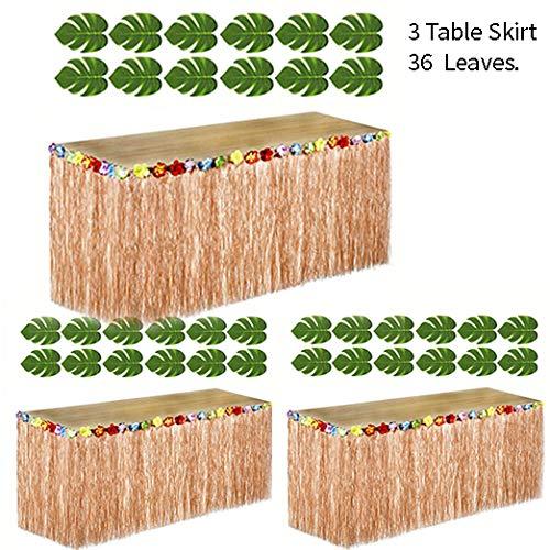 Adorox 3 Brown Table Skirt Hawaiian Luau Hibiscus Green Table Skirt 9ft  36 Leaves