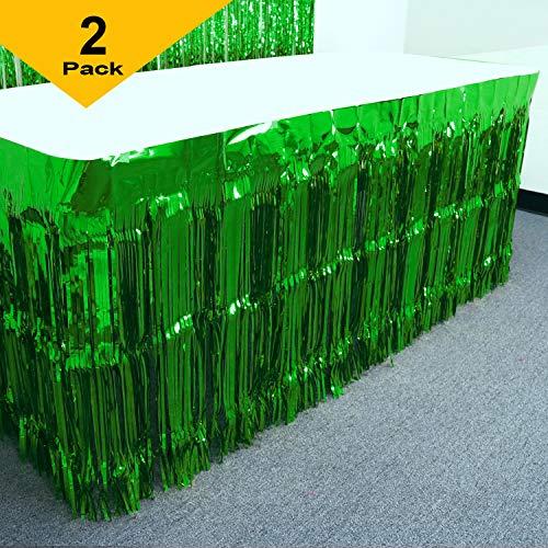 GIFTEXPRESS Mardi Gras Themed Metallic Fringe Table Skirt Set of 2 Green 2-pack