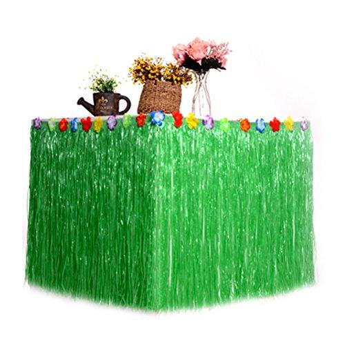 OULII Hawaiian Table Skirt Hula Grass Desk Skirt for Luau Hawaiian Themed Party Decoration Tabletop Decor Green