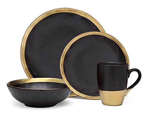 Godinger Silver Art 4-piece Golden Onyx Porcelain Gold And Black Dining Dinner Dinnerware Dinner Set