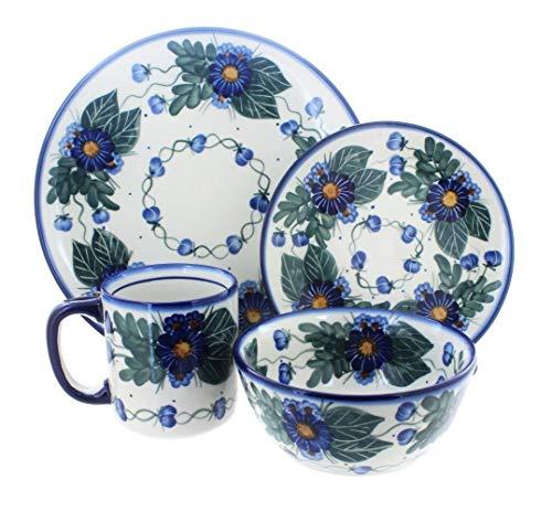 OKSLO Polish pottery forget me not 4 piece dinner set