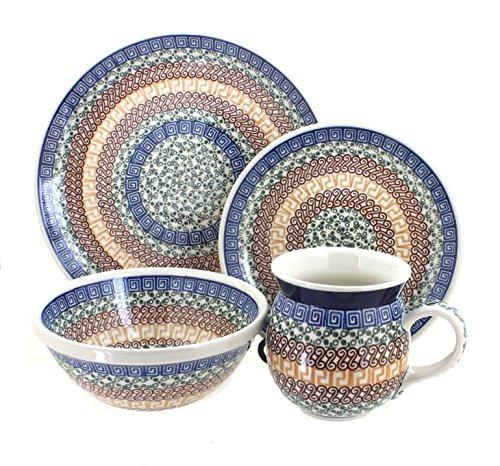 Polish Pottery Athena 4 Piece Dinner Set - Service for 1