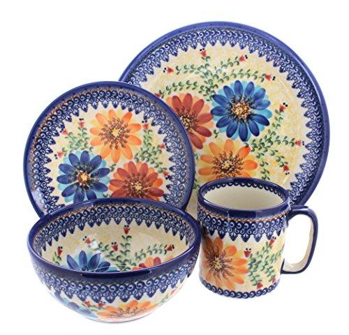 Polish Pottery Autumn Burst 4 Piece Dinner Set - Service for 1