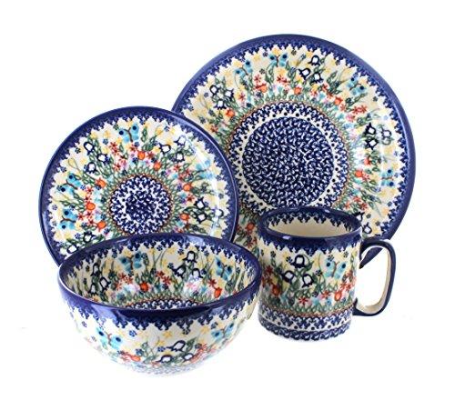 Polish Pottery Garden of Eden 4 Piece Dinner Set - Service for 1