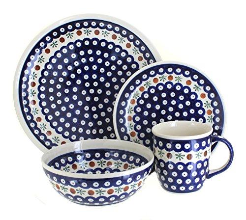 Polish Pottery Nature 4-Piece Dinner Set