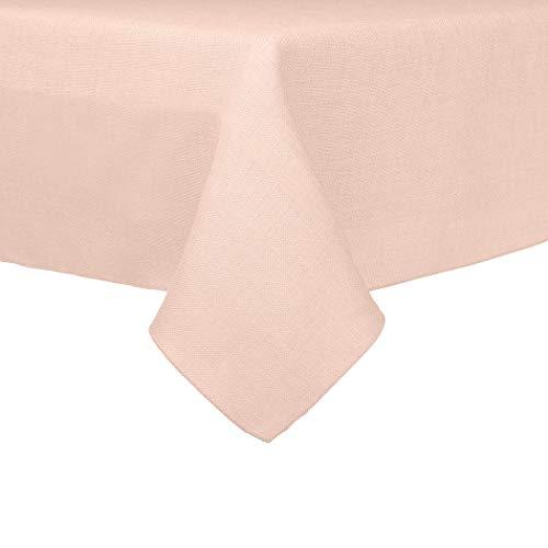 Ultimate Textile Faux Burlap - Havana 72 x 120-Inch Rectangular Tablecloth - Basket Weave Ice Peach