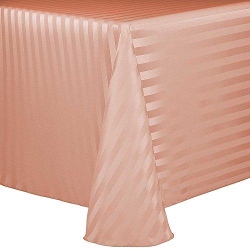 Ultimate Textile Satin-Stripe 90 x 120-Inch Rectangular Tablecloth Peach