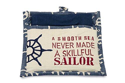 IHF Home Décor 2-Piece Sailor Nautical Pocket Potholder and Dish Towel 100 Cotton IHF-433-PGS
