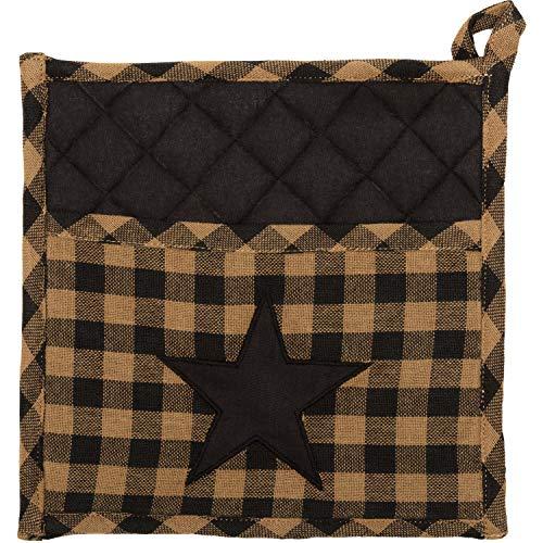 VHC Brands Primitive Tabletop Kitchen Fabric Loop Cotton Appliqued Pocket Star Pot Holder Raven Black