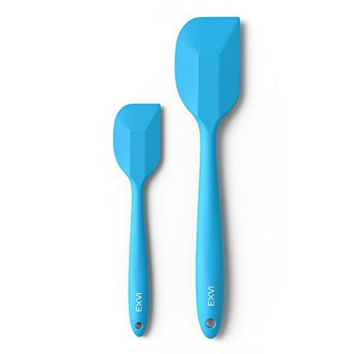 EXVI 2-Piece Flexible Silicone Spatula Sets Rubber Spatula Heat Resistant Non-Stick Bowl Scraper Baking Utensils Blue