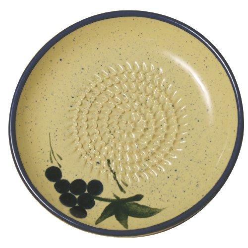 Cooks Innovations - Ceramic Grater Plate - Beautiful Grape Design - Blue Cream
