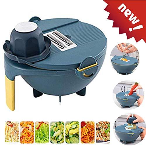 9 in 1 Multifunction Magic Rotate Vegetable Cutter with Drain Basket New Veggie Mandoline Slicer Grater Shredder Food Strainer Fruit Colander Blue