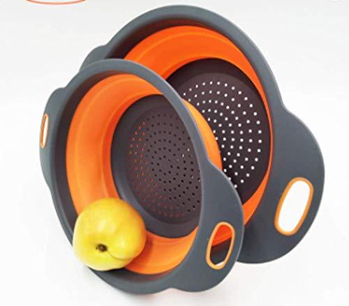 Collapsible Colander Set - Round Storage Mesh Strainer for vegetables and fruits 2 Pcs ORANGE