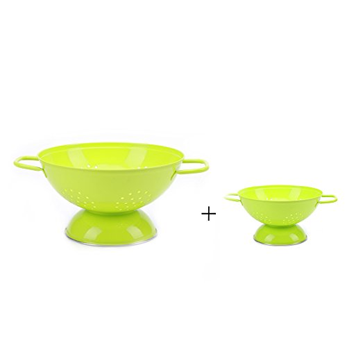 Hot Sale P410 Set of 2 Metal Kitchen Food StrainerIron Fruit ColanderBowlContainerTray with Handle Greengreen