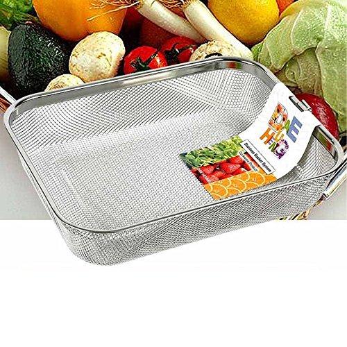 Rectangle Strainer Stainless Steel Mesh Sink Basket L12×D92×H23inch Vegetable Fruit Colander Strainer Kitchen Tools 1pcs