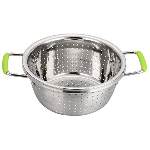 Stainless Steel Deep Colander Micro-perforated 25 Quart Metal Food Strainer with Green Silicone Handles for Draining Pasta Cleaning Food like Fruit