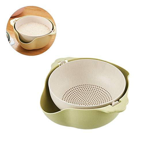 UPKOCH 1pc Double-Layer Drain Basket Multifunction Fruit Wash Colander Rice Sieve Vegetable Drain Basket Green