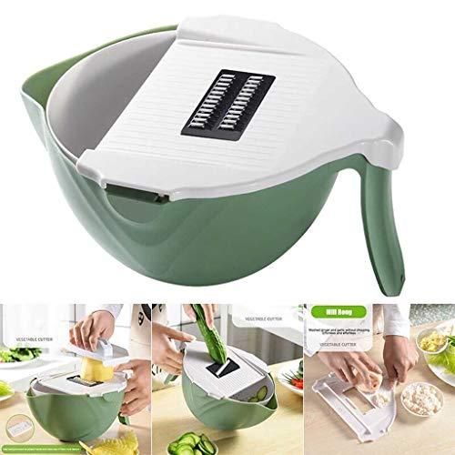 Vegetable Slicer with Drain BasketMultifunctional Rotate Vegetable CutterPortable Built-in Adjustable Safe Slicer ChopperFood Strainer Fruit Colander Kitchen Tool 1pc Green
