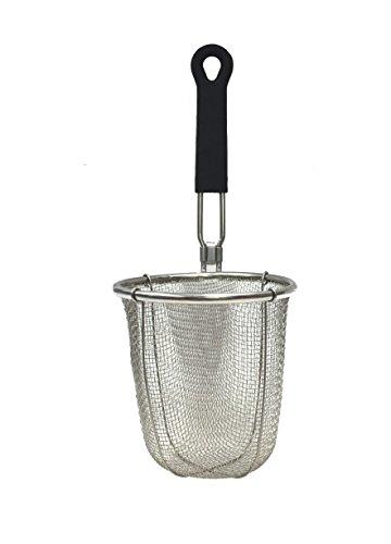 SAMMART Stainless Steel Mesh Noodle Strainer basket with Black Silicone Handle - Pasta Sieve Colander