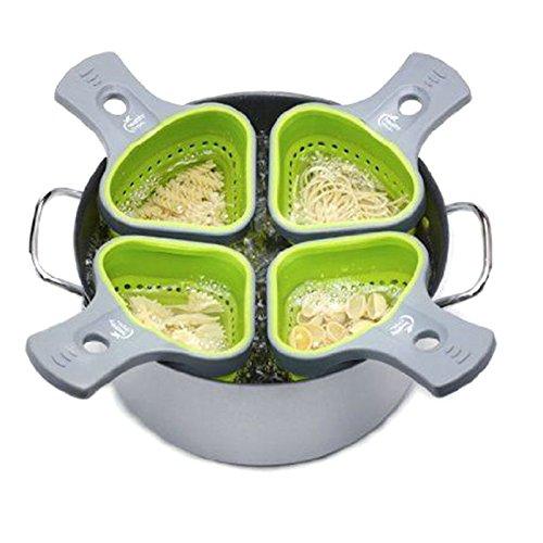 XENO-Hot Kitchen Silicone Pasta Noodles Strainer Portion Control Basket Colander Tool