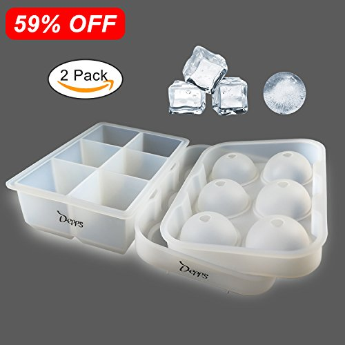 Depp's Silicone Ice Cube Trays Set of 2 Sphere Ice Ball Maker with Lid Large Square Molds Reusable BPA Free FDA Approved Keep Your Drink Chilled for Hours Without Diluting It