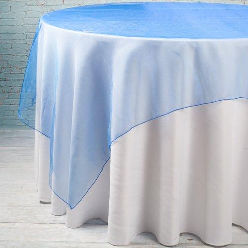 Richland 72 x 72 Organza Table Overlay Royal Blue Set of 10