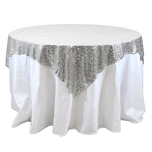 SILVER SEQUIN OVERLAY Silver Tablecloth 72 x 72 Sparkly Table Overlay Sequin Table Cloth Glitter Tablecloth Sequin Square Overlay