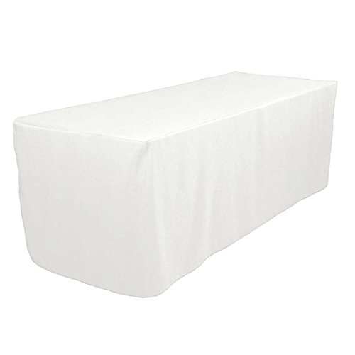 5 Feet White Tablecloth Fitted Polyester Tablecloth Wedding Trade Show Booth Dj Table Cove White