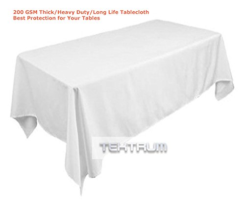 TEKTRUM 70 X 104 INCH 70X104 RECTANGULAR POLYESTER TABLECLOTH - THICKHEAVY DUTYDURABLE FABRIC White