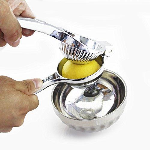 EALEK Lemon Squeezer Stainless Steel Manual Juicer Manual Hand Press Juice Lemon Lime Orange Citrus Juicer Silver