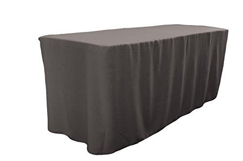 LA Linen Polyester Poplin Fitted Tablecloth 72L x 30W x 30H Dark Gray