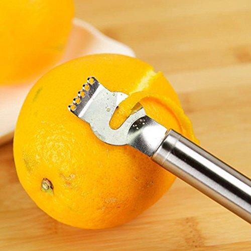 1Pc Stainless Steel Fruit Peelers Lemon Orange Zester Grater Stainless Steel Grips Lime Zest Peeling Tool
