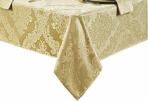 Barcelona No-Iron Soil Resistant Fabric Damask Tablecloth - Set Of 4 Napkins - Gold