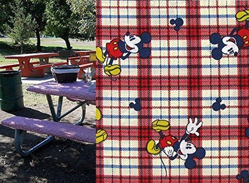 Custom Stay Put Fitted Mouse Reusable Tablecloth Set Picnic or Camping Bench 3 Piece Table and 2 bench Mouse set No more hot or dirty seats Great For Birthday Parties