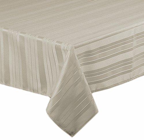 Satin Stripe Weave No-Iron Soil Resistant Fabric Tablecloth Set Of 4 Napkins Grey