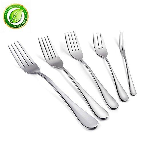 ODSEN 5-pieces Dinner Forks SetHeavy-duty Good Stainless Steel flatware forksInclude DinnerFruitSaladDessert Forks