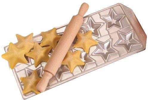 GSD Ravioli Mould Ravioli Stelline With Rolling Pin SilverBrown