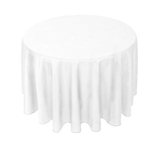 YooDaa Linen 90 Inch Round Polyester Tablecloth for Wedding Restaurant Banquet Party White 1 pc