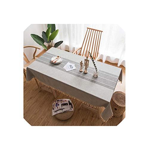 TT Lemon Tassel Plaid Decorative Linen Tablecloth Oilproof Thick Rectangular Wedding Dining Table Cover Coffee Grey Tea Table ClothLight Grey140X240Cm